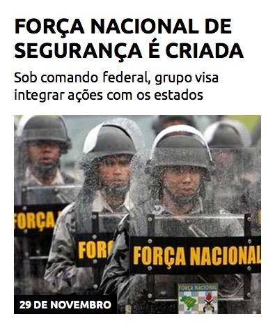 Força Nacional de Segurança é criada