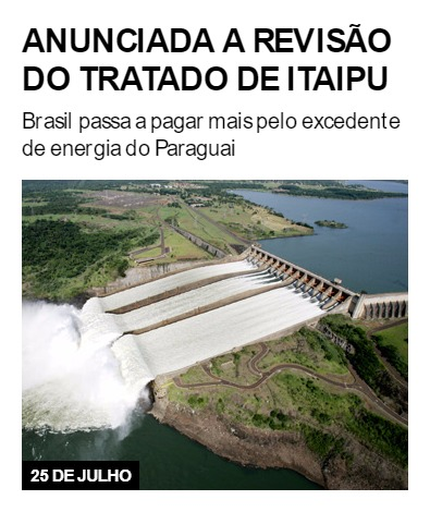 Anunciada a revisão do Tratado de Itaipu