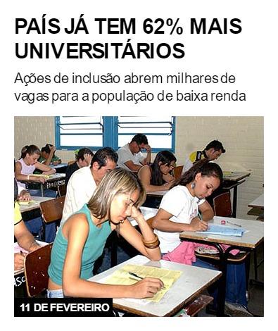 País já tem 62% mais universitários