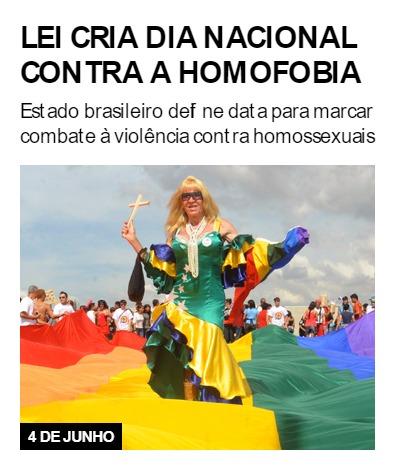 Lei cria Dia Nacional contra a Homofobia
