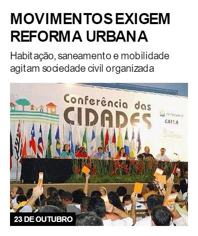 Movimentos exigem reforma urbana