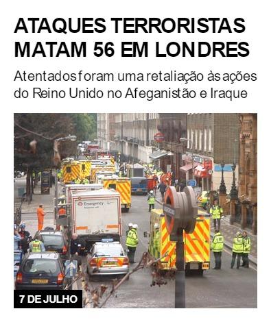 Ataques terroristas matam 56 em Londres