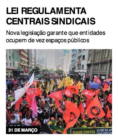 Lei regulamenta centrais sindicais