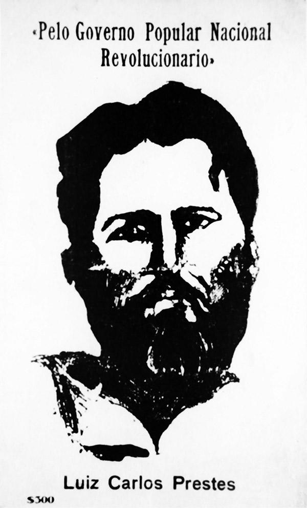 Imagem de Luís Carlos Prestes em cartão-postal  da Aliança Nacional Libertadora, feitopara arrecadar fundos