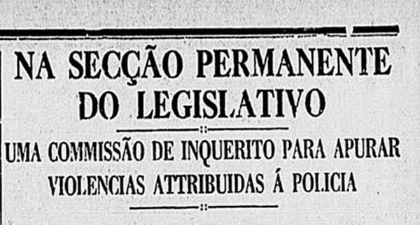 """""""Correio da Manhã"""" noticia odiscurso em que o senador Abel Charmont denuncia as violências contra presos políticos. Edição de4 de março de 1936"""