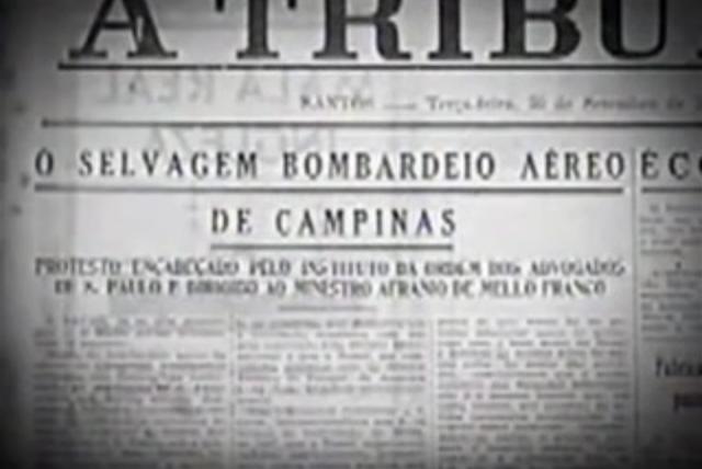 """Os ataques aéreos contra São Paulo , em trecho de """"A Guerra dos Paulistas"""" (2002), de Laís Bodanzky e Luiz Bolognesi"""
