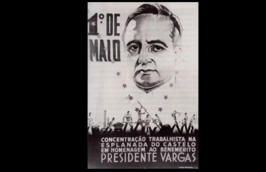 Da tribuna do estádio de São Januário, e sob os aplausos de mais de 40 mil operários, o presidente Getúlio Vargas anuncia a instituição do salário mínimo