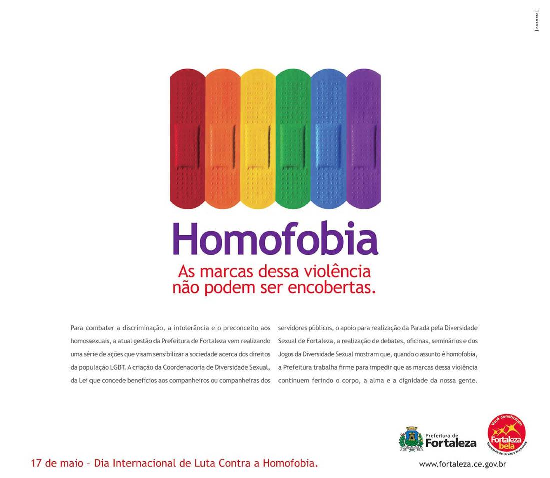 Anúncio da Prefeitura de Fortaleza no Dia Internacional de Lutacontra a Homofobia