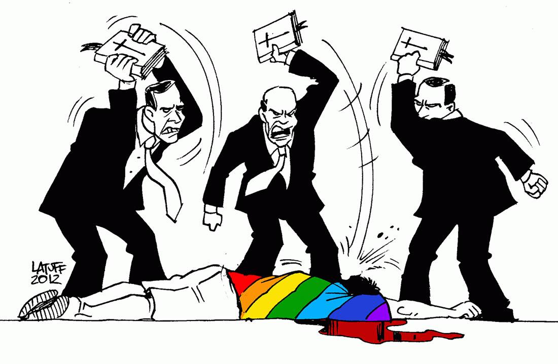 Desenho de Latuff mostra onda conservadora contra LGBT. Entre 2003 e 2010, 1.239 pessoas são assassinadas por causa da violência homofóbica