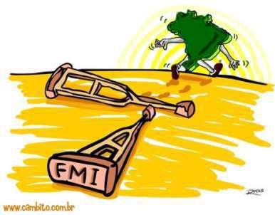 Charge faz referência  ao novo momento do Brasil, sem as muletas do FMI