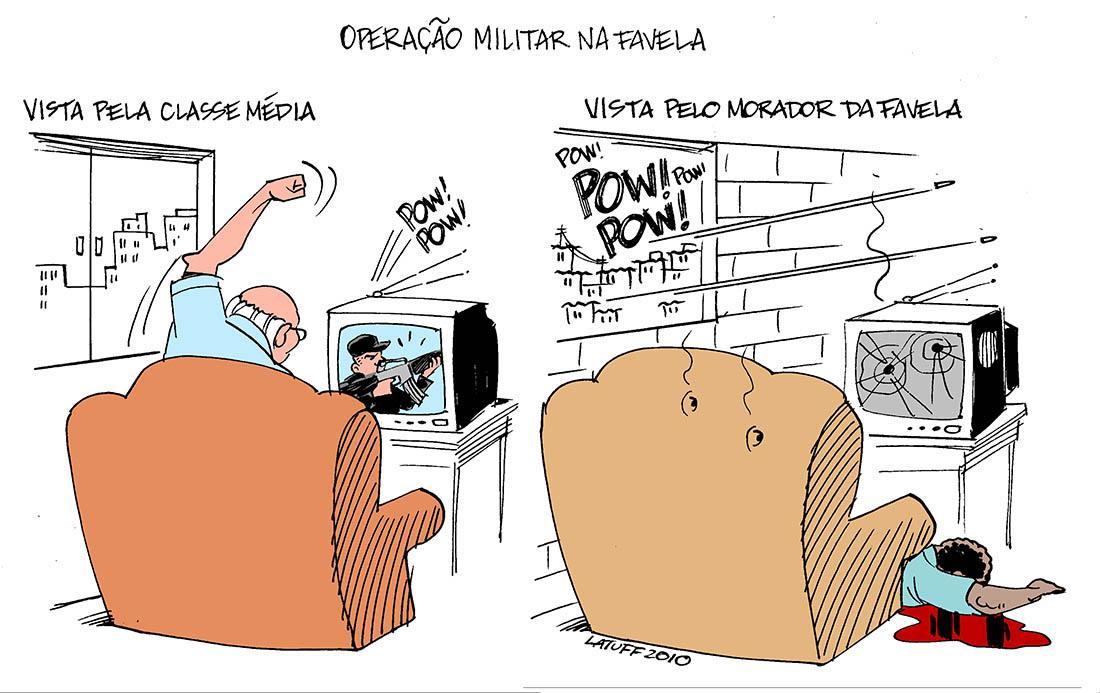 Charge de Latuff mostra o contraste entre a divulgação da mídia e a visão da periferia, onde ocorreram os massacres