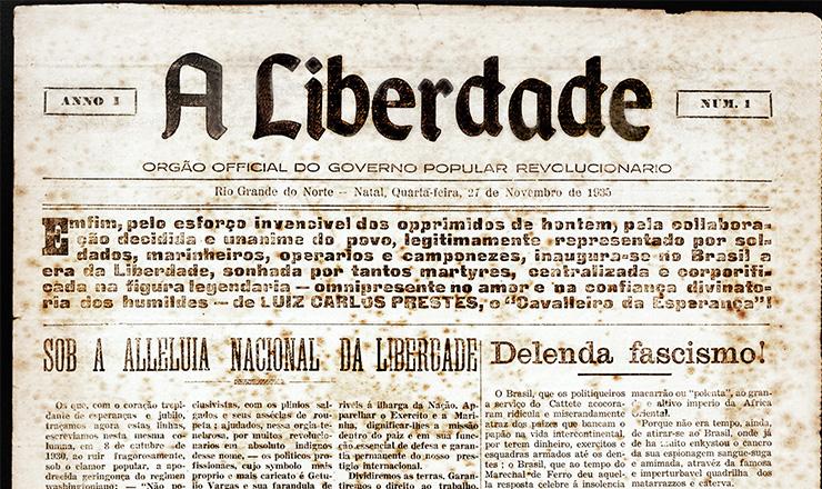 """Capa do 1º número de """"A Liberdade"""" (Natal), 27 de novembro de 1935"""