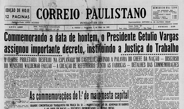 """Manchete do """"Correio Paulistano"""" noticia a criação da Justiça do Trabalho, em maio de 1939"""
