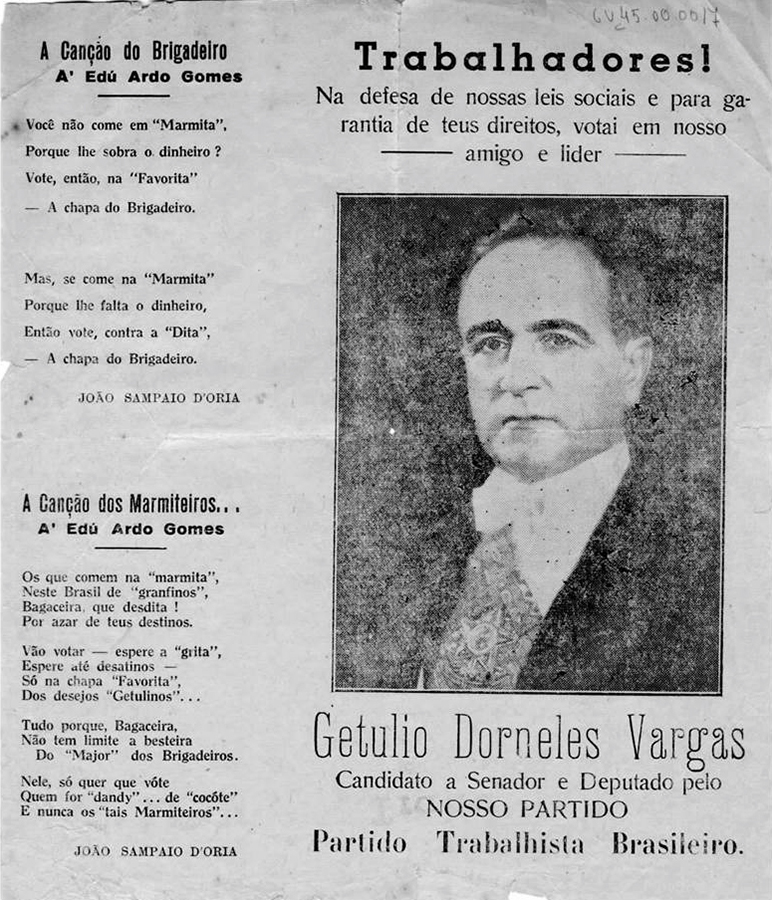 Panfleto da campanha eleitoral  de Getúlio Vargas ao Senado