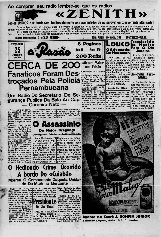 """""""A Razão"""" de 25 de janeiro de 1938: """"Cerca de 200 fanáticos foram destroçados pela polícia pernambucana""""."""