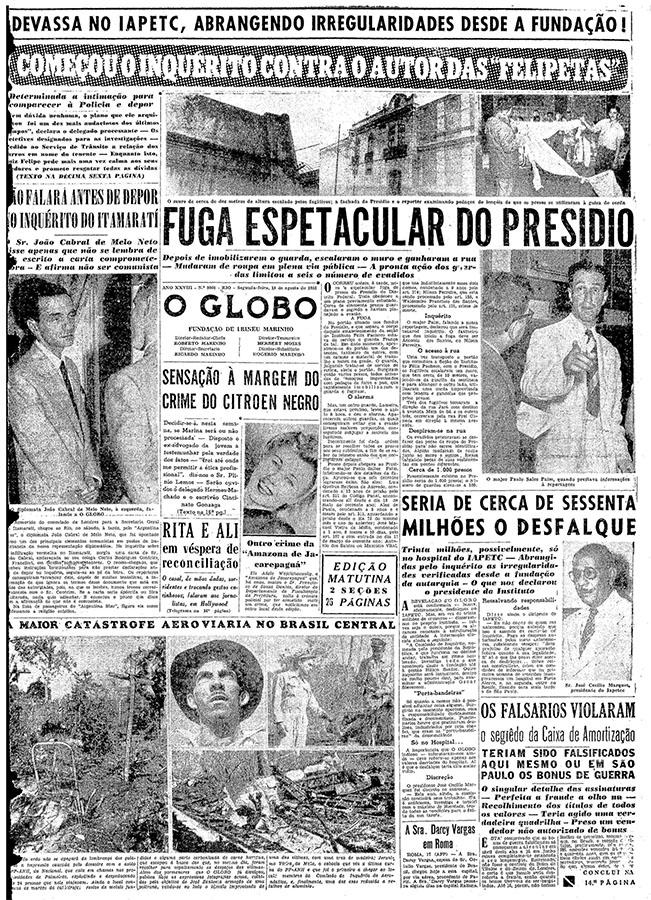 """O caso do poeta João Cabral de Melo Neto repercute na imprensa nacional, e """"O Globo"""" dá destaque em primeira página"""