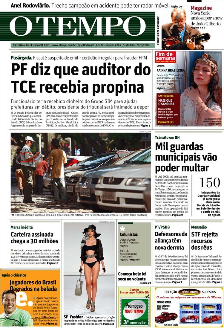 """Capa do jornal """"O Tempo"""",  de Belo Horizonte, vendido a R$ 1"""