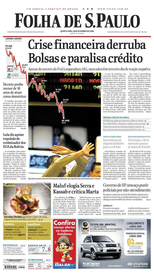 "Capa do jornal ""Folha de S.Paulo"" de19 de setembro de 2008"