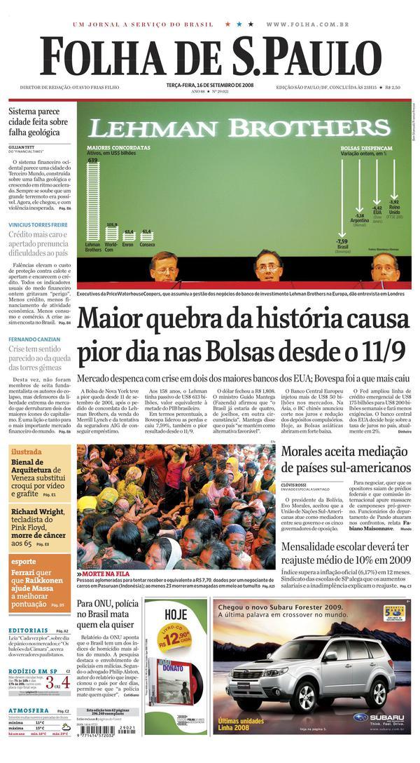 "Capa do jornal ""Folha de S.Paulo"" de16de setembro de 2008"