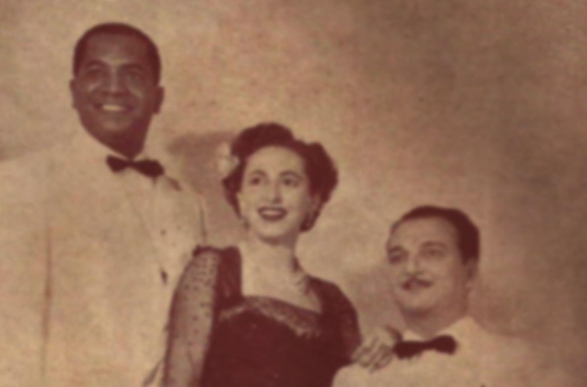 """Herivelto Martins, Noemi Cavalcanti e Nilo Chagas (o Trio de Ouro) cantam  """"Três de Julho"""", de Herivelto e Benedito Lacerda"""
