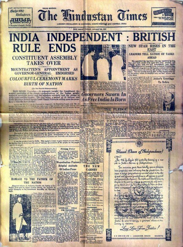 """O jornal """"The Hindustan Times"""", publicado em Nova Déli, anuncia a independência da Índia"""