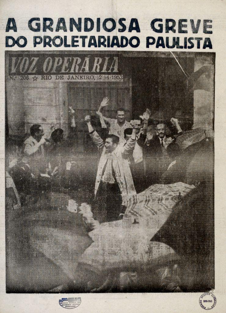"""Jornal comunista """"Voz Operária"""" noticia  a Greve dos 300 Mil, em25 de abril de 1953"""