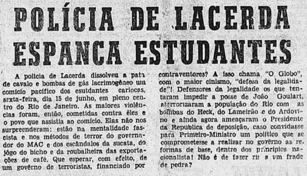 """A  edição de 21 de junho de 1962 do jornal """"O Seminário"""" destaca a violência da polícia da Guanabara contra os manifestantes"""