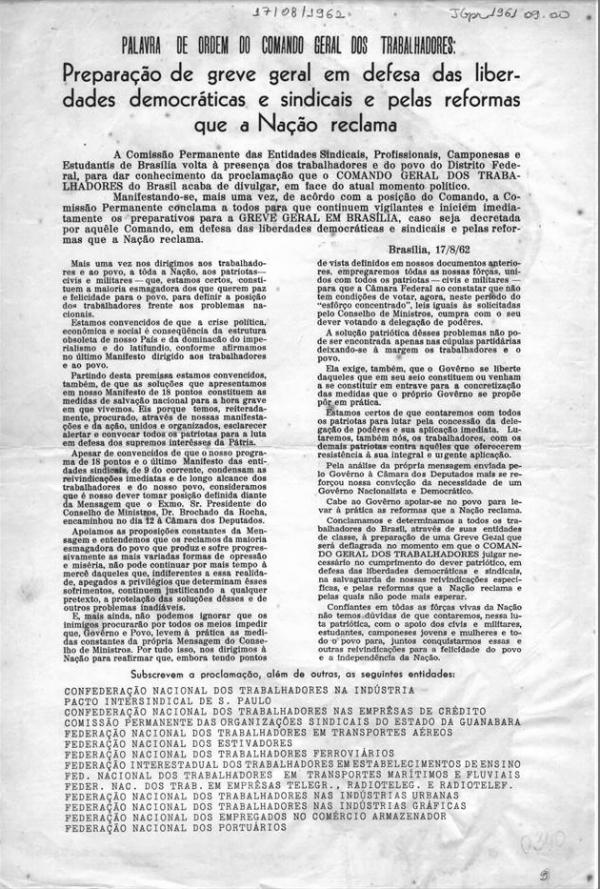 CGT conclama à greve geral  e divulga documento orientando e justificando sua preparação, em agosto de 1962