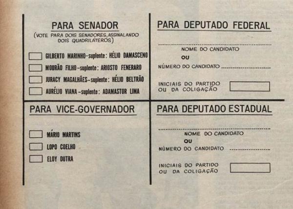 """Na revista """"O Cruzeiro"""" de 6 de outubro de 1962,  lia-se a seguinte orientação:   O eleitor encontrará a Cédula Única  com que votará nas eleições de 7 de outubro, já com os nomes, pela ordem de inscrição. O mecanismo do voto é simples: basta o eleitor marcar em cruz ou em X dois quadriláteros para senadores e um para vice-governador. Nas eleições proporcionais (deputado federal e estadual), o eleitor terá que escrever o nome do candidato ou o número e a sigla do partido. Se se tratar de coligação partidária, o eleitor escreverá pelo menos a sigla de um dos partidos coligados."""