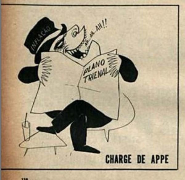 """Charge de Appe publicada na revista """"O Cruzeiro"""" em 8 de junho de 1963"""