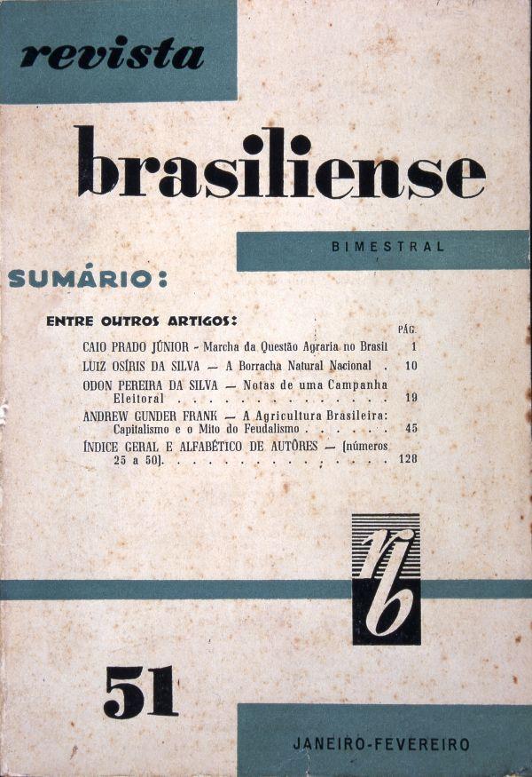Capa da última edição da  Revista Brasiliense , que seria fechada no golpe de 64