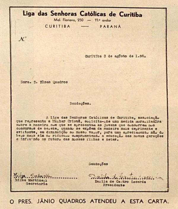"""Carta da Liga das Senhoras Católicas de Curitiba publicada na revista""""O Cruzeiro"""" em 1º de setembro de 1961"""