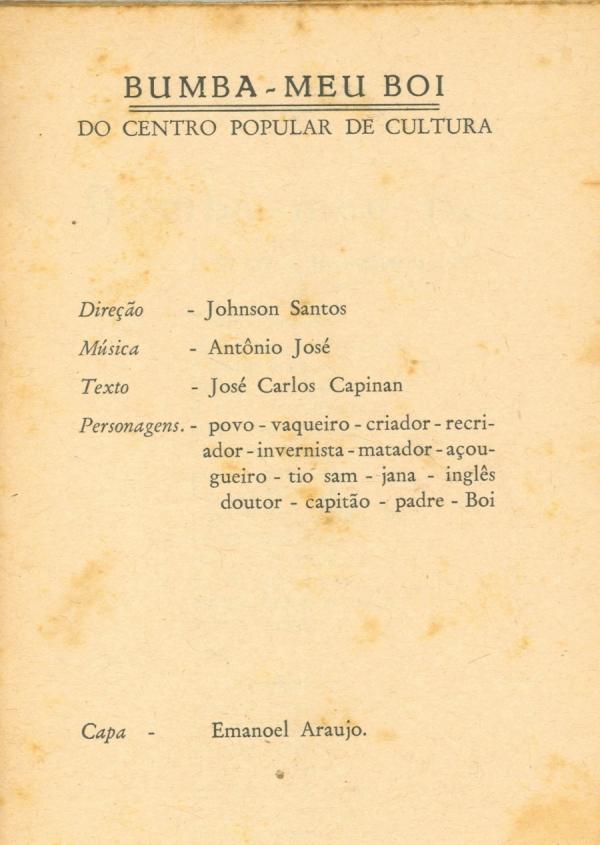 """Cordel """"Bumba Meu Boi"""", editado pelo CPC"""