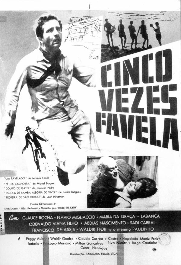 """Cartaz do filme""""Cinco Vezes Favela"""", produzido em 1962,  com vários episódios dirigidos por cineastas diversos"""