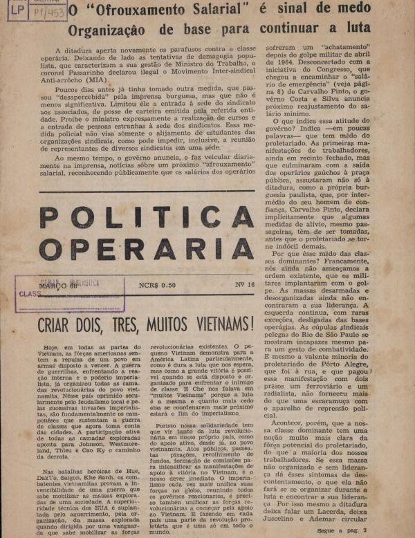 """Capa do jornal """"Política Operária"""",  edição nº 16 (março de 1968)"""