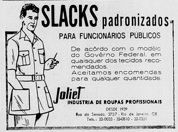 """Anúncio de """"slacks"""" publicado no jornal """"Ultima Hora"""", em 25 de março de 1961"""