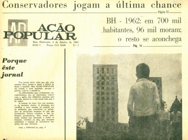 """Capa do primeiro número do periódico""""Ação Popular"""" ,publicado pela Ação Católica mineira,edição de janeiro de 1962"""