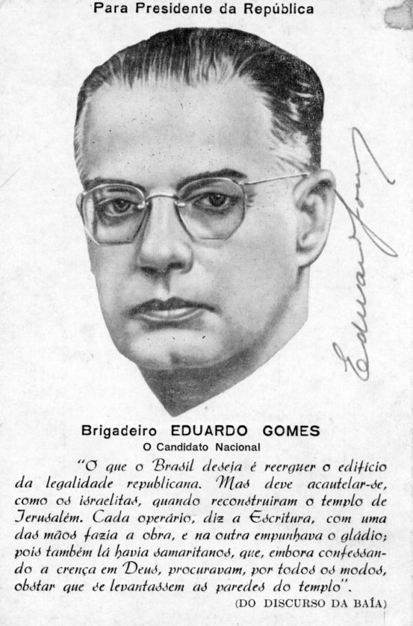 Cartão-postal de propaganda  eleitoral para Presidência da República de 1950