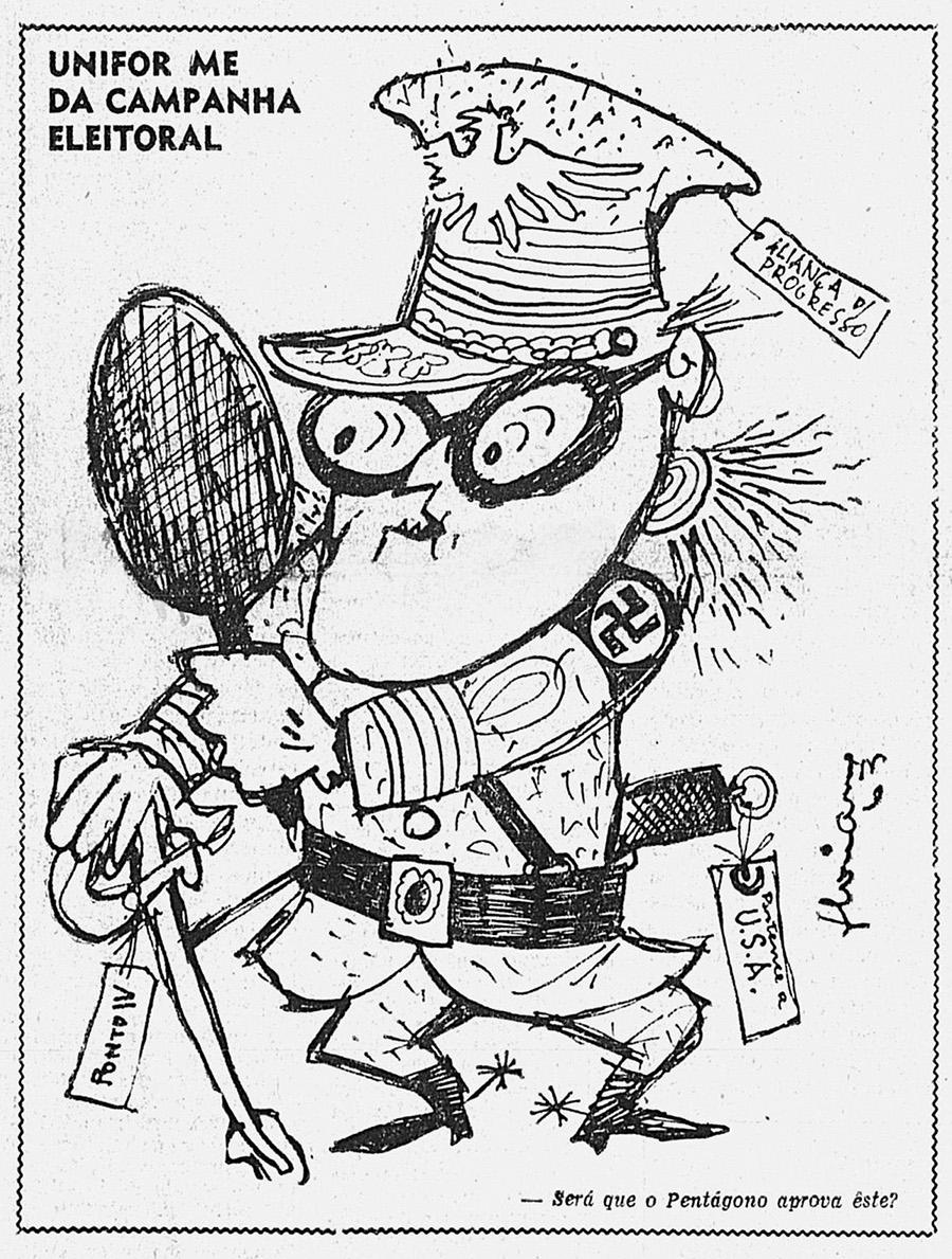 """Charge publicada em """"O Semanário"""", novembro de 1963, ironiza Lacerda como um golpista vaidoso, fascista e submisso aos Estados Unidos"""