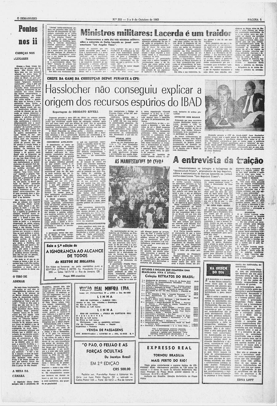 """Na primeira semana de outubro de 1963, """"O Semanário"""" traz  notícia da entrevista de Lacerda e da reação dos militares"""