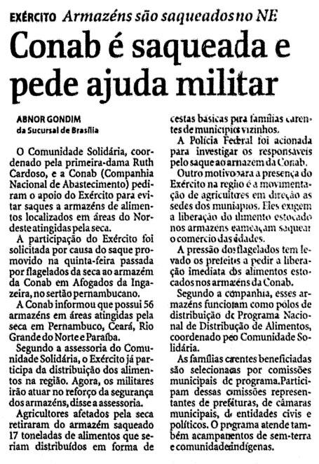Em 1998, os saques de alimentos continuavam. Matéria da Folha de S.Paulo de 23 de abril. (Imagem: Reprodução)