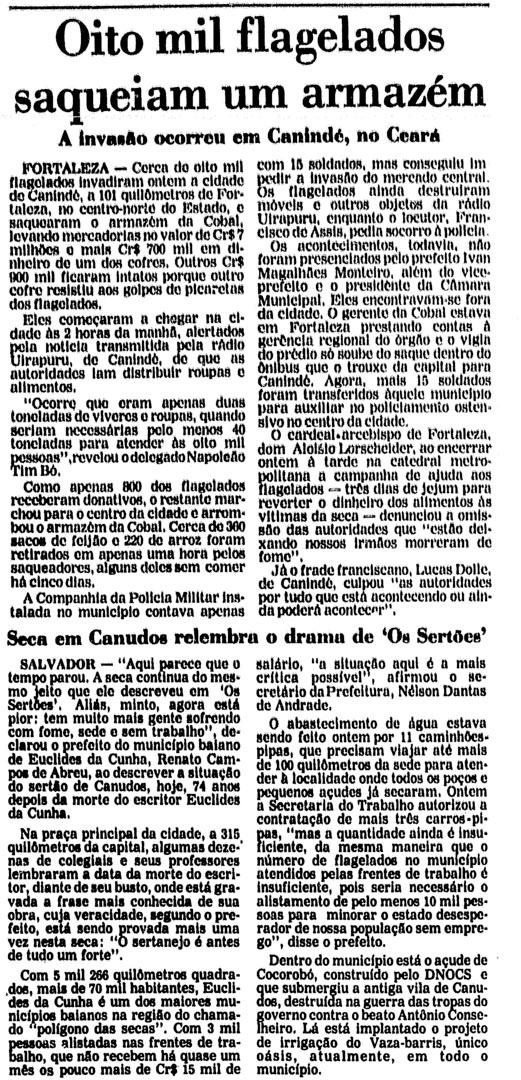 """""""Oito mil flagelados saqueiam um armazém"""", matéria da Folha de S.Paulo de 16 de agosto de 1983. Logo abaixo, outra matéria sobre fome e seca, esta na região de Canudos"""