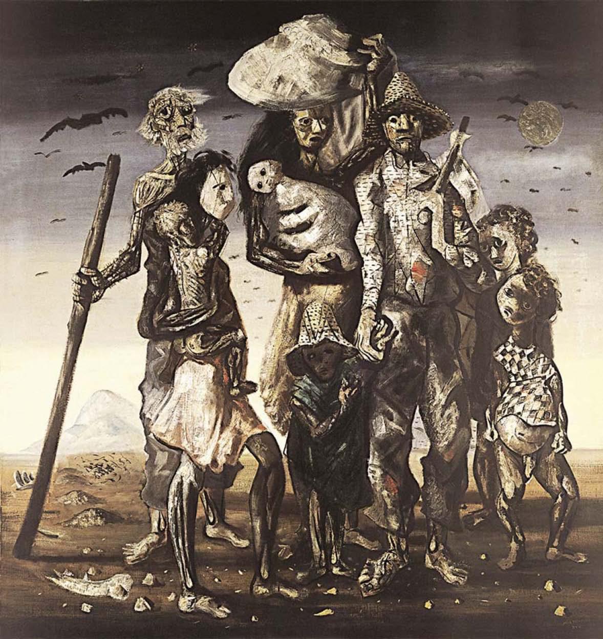 Quadro 'Os Retirantes', pintado em 1944 por Cândido Portinari retrata a fome dos nordestinos. (Reprodução)