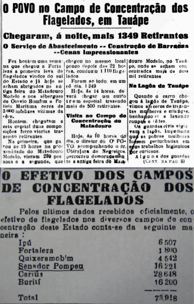 Jornais de 1932 relatam um dos episódios pouco conhecidos da nossa história: os campos de concentração criados para impedir que flagelados da seca chegassem a Fortaleza. (acima: Jornal O Povo de 16/4/1932; abaixo: Recorte de 20/6/1932 jornal não-identificado)