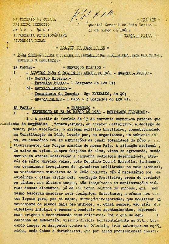 Boletim do Ministério da Guerraaponta as ordens para os militares