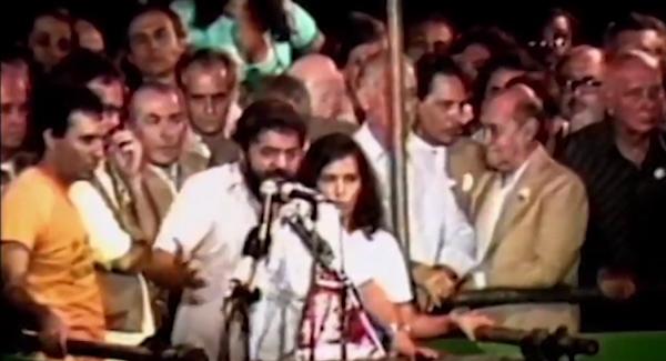 Tancredo Neves, Ulysses Guimarães, Lula e Brizola discursam nos comícios pedindo a aprovação das Diretas