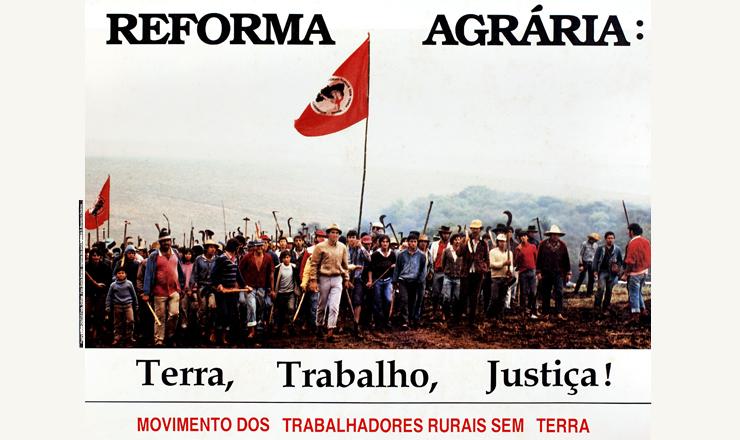 Cartaz do MST,organização criada durante o 1° Encontro Nacional dos Trabalhadores Rurais Sem Terra