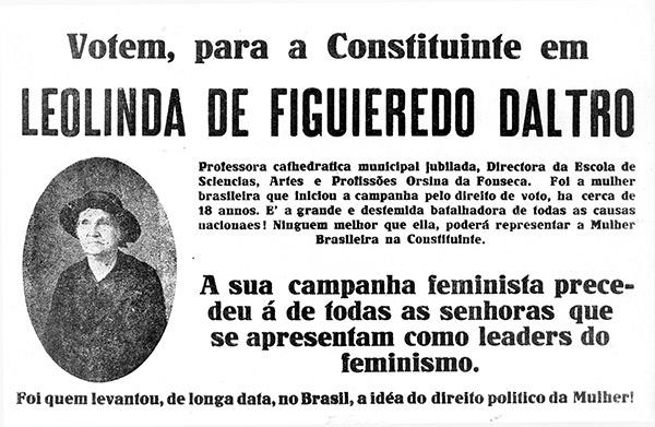 Propaganda de Leolinda Daltro para eleição à Constituinte