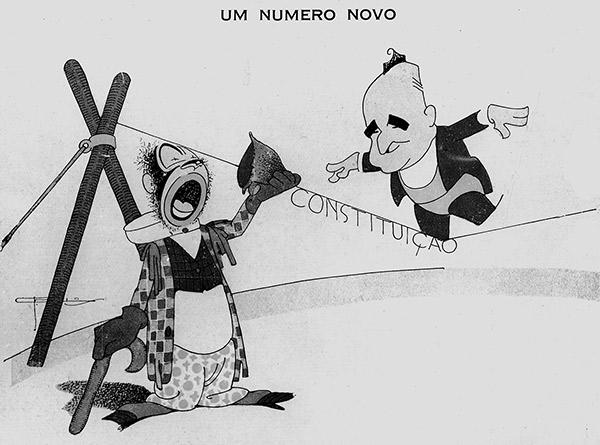 """Getúlio e a Constituição de 1934, charge de J. Carlos, revista """"Careta"""""""