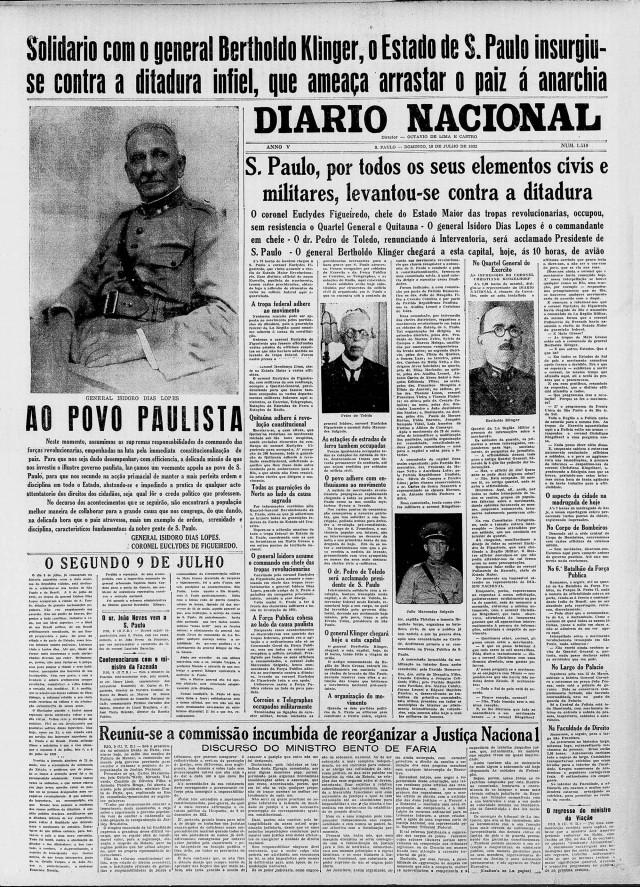 """General Isidoro Dias Lopes e coronel Euclides de Figueiredo assumem  o comando das forças revolucionárias. """"Diario Nacional"""", 10 de julho de 1932"""